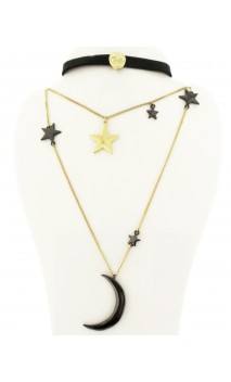 Bisuteria Collar Con Chocker Y Luna